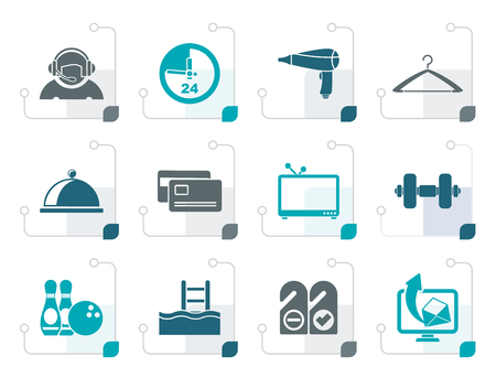 swiming: Stylized hotel and motel amenity icons  - vector icon set Illustration