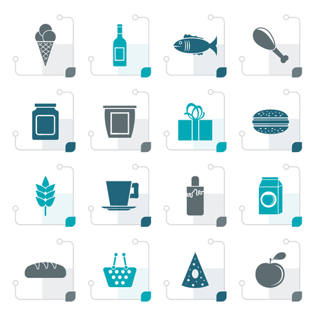 website buttons: Stylized shop, food and drink icons - vector icon set