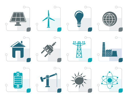 npp: Stylized power, energy and electricity icons - vector icon set