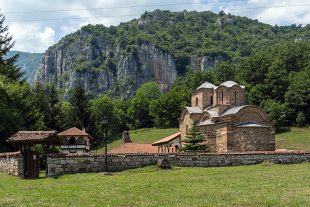 Panoramic view of medieval Poganovo Monastery of St. John the Theologian, Serbia Stock Photo