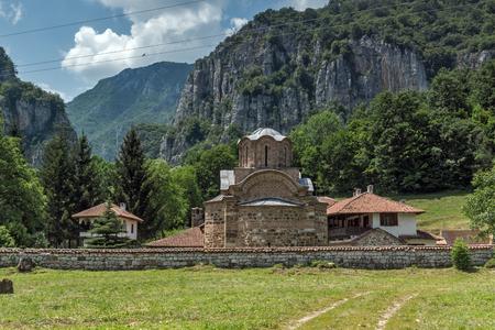 Panoramic view of medieval Poganovo Monastery of St. John the Theologian, Serbia Stock Photo