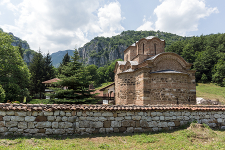 theologian: Panoramic view of medieval Poganovo Monastery of St. John the Theologian, Serbia Stock Photo