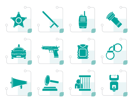 electrocution: Stylized law, order, police and crime icons - vector icon set Illustration