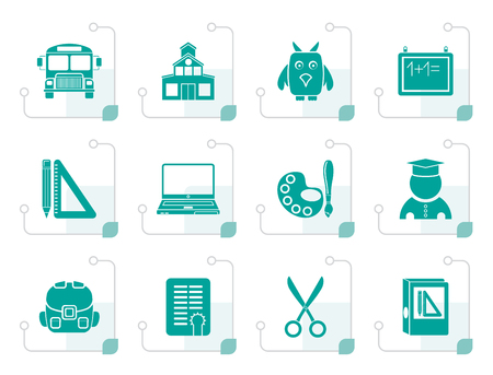 computer education: Stylized School and education objects - vector illustration