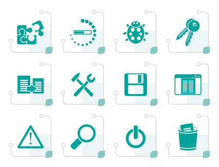 icons site search: Stylized developer, programming and application icons - vector icon set Illustration