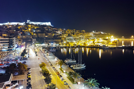 Amazing night Panorama of port and old town of Kavala, East Macedonia and Thrace, Greece Editorial