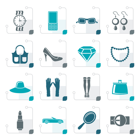 earrings: Stylized woman and female Accessories icons - vector illustration Illustration