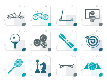 Stylized sports equipment and objects icons - vector icon set 2