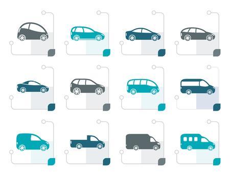 Gestileerde verschillende soorten auto's iconen - Vector icon set