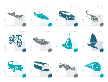 busness: Stylized different kind of transportation and travel icons - vector icon set