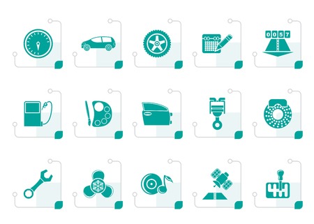 vulcanization: Stylized car parts, services and characteristics icons - vector icon set Illustration