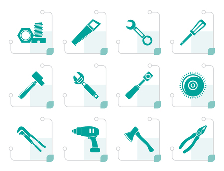 Stylized different kind of tools icons - vector icon set Çizim