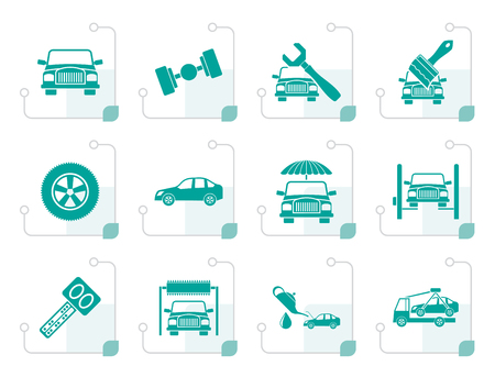 Stylized auto service and transportation icons - vector icon set