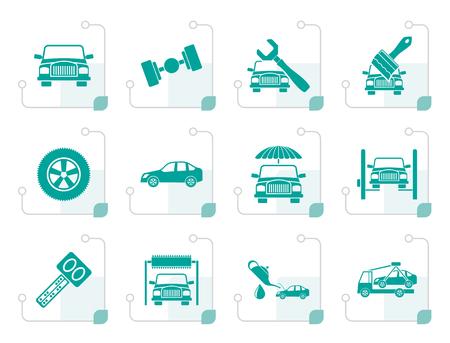 vulcanization: Stylized auto service and transportation icons - vector icon set