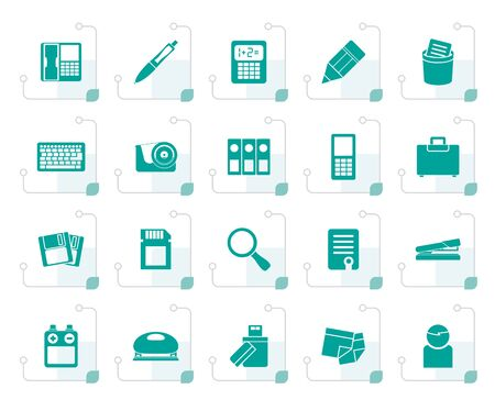 scotch: Stylized Office tools Icons - vector icon set 3