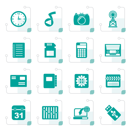 polyphony: Stylized Phone Performance, Internet and Office Icons - Vector Icon Set