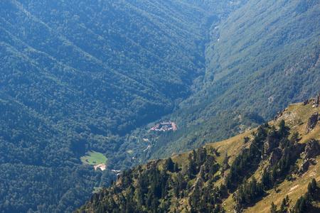 Amazing Panorama of Green hills and Rila monastery, Bulgaria Stock Photo