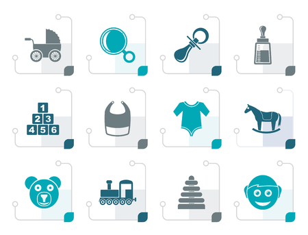 Stylized baby and children icons - vector icon set