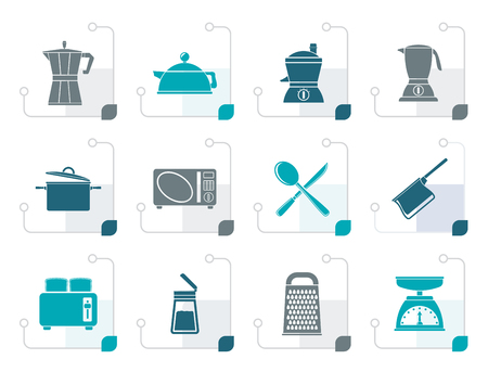 Stylized kitchen and household equipment icon - vector icon set Illustration