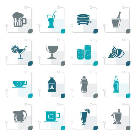Stylized beverages and drink icons - vector  icon set
