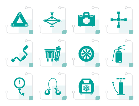 spare: Flat car and transportation equipment icons - vector icon set