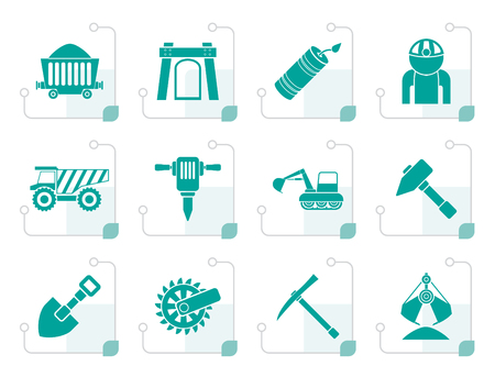 removing: Black Mining and quarrying industry objects and icons - vector icon set Illustration