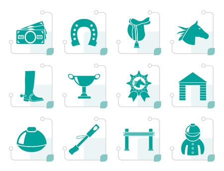 Black Horse Racing and gambling Icons - vector icon set