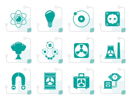 electromagnetism: Black Atomic and Nuclear Energy Icons - vector icon set