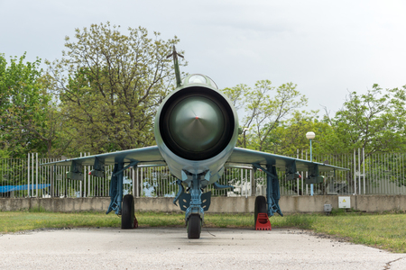 KRUMOVO, PLOVDIV, BULGARIA - 29 APRIL 2017: Fighter Mikoyan-Gurevich MiG-21 in Aviation Museum near Plovdiv Airport, Bulgaria