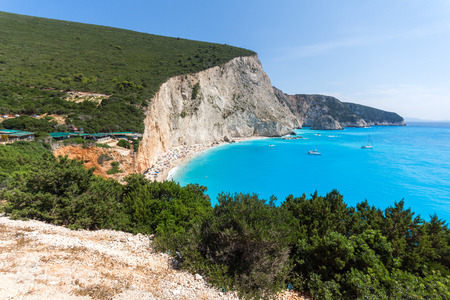 ionian: Amazing seascape of blue waters of Porto Katsiki Beach, Lefkada, Ionian Islands, Greece