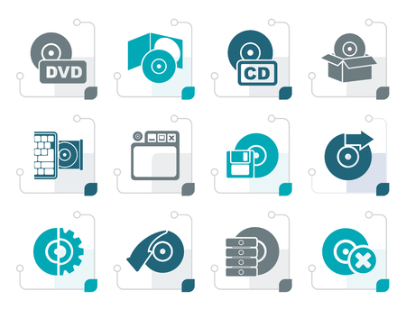 eject: Stylized Computer Media and disk Icons - vector icon set Illustration