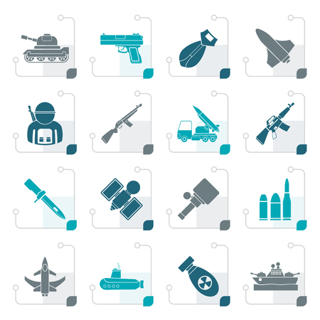 automat: Stylized Army, weapon and arms Icons - vector icon set