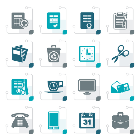 Stylized Business and office tools icons - vector icon set