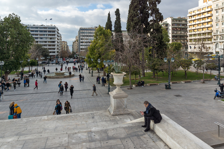 ATHENS, GREECE - JANUARY 20 2017:  Panorama of Syntagma Square in Athens, Attica, Greece Editorial