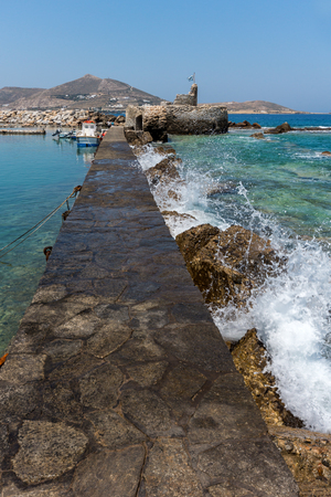 balkans: Amazing Panorama of Venetian fortress and port in Naoussa town, Paros island, Cyclades, Greece