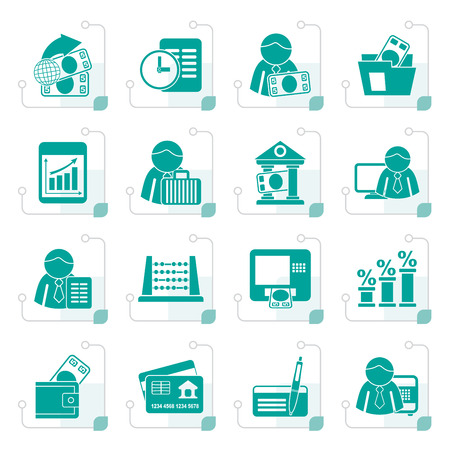 Stylized Bank and Finance Icons - Vector Icon Set