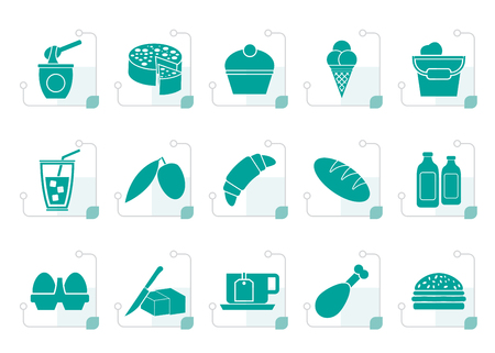 milk pail: Stylized Dairy Products - Food and Drink icons - vector icon set