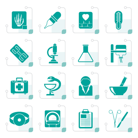Stylized Healthcare and Medicine icons - vector icon set