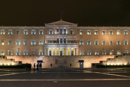 ATHENS, GREECE - JANUARY 20 2017:  Night photo of The Greek parliament in Athens, Attica, Greece Editorial
