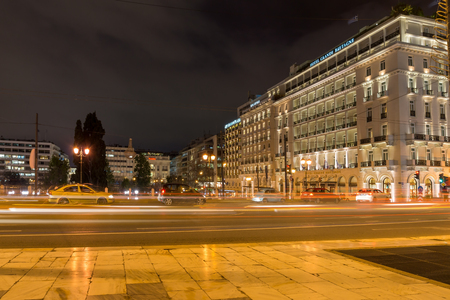 ATHENS, GREECE - JANUARY 19 2017:  Night photo of Syntagma Square in Athens, Attica, Greece