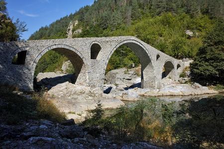 Verbazingwekkende Reflectie van Bridge Devil's in Arda rivier, Kardzhali Region, Bulgarije