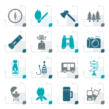 gas fireplace: Stylized Camping, travel and Tourism icons - vector icon set