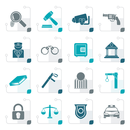 jail: Stylized Law, Police and Crime icons - vector icon set