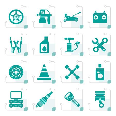 Stylized Transportation and car repair icons - vector icon set Ilustração