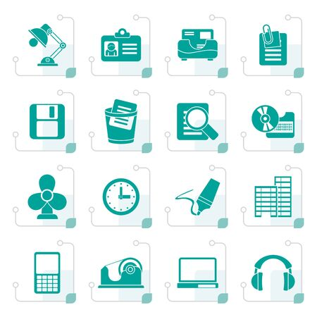 clop: Stylized Office and business icons - vector icon set