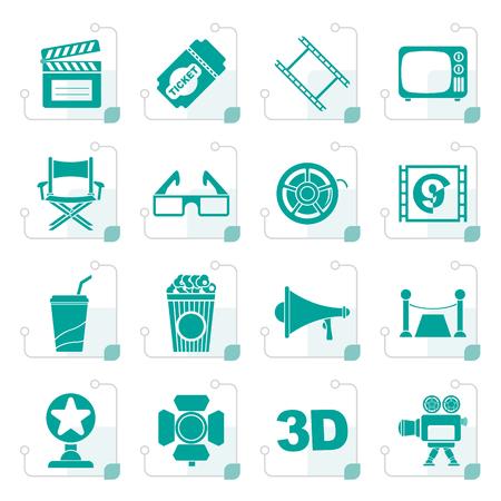 Stylizowane ikony kina i filmu - wektor zestaw ikon