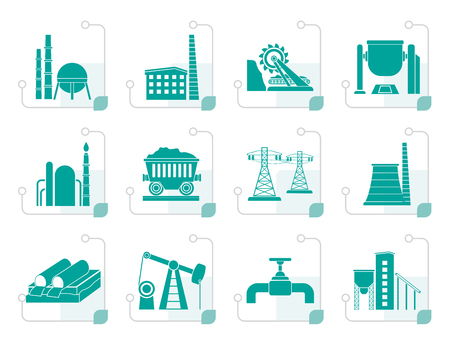 mine site: Stylized Heavy industry icons - vector icon set