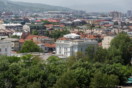 balkans: SKOPJE, REPUBLIC OF MACEDONIA - 13 MAY 2017: Panorama to city of Skopje from fortress (Kale fortress) in the Old Town, Republic of Macedonia