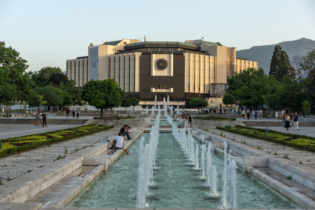 SOFIA, BULGARIA - JUNE 30, 2017: Sunset view of National Palace of Culture in Sofia, Bulgaria