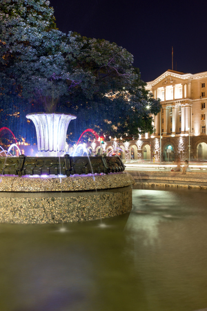 presidency: SOFIA, BULGARIA - JUNE 30, 2017: Night photo of Fountain in front of The Building of the Presidency in Sofia, Bulgaria Editorial
